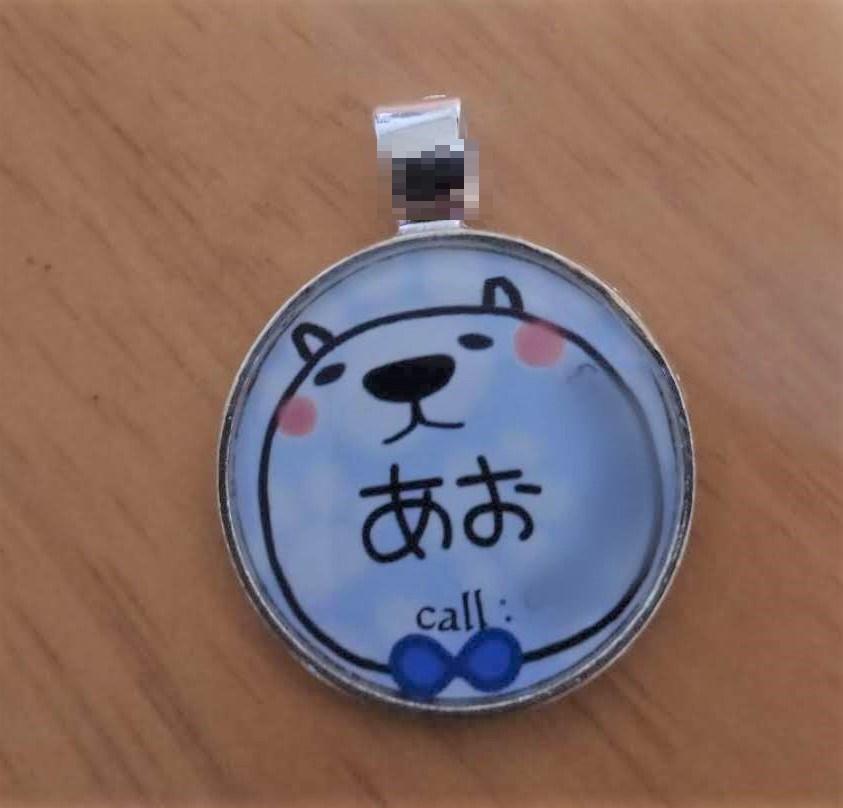 岡山保護犬あおの一日、迷子用ネームタグ