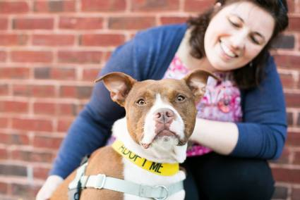 Mr. Bones & Co. adoptable Chloe with foster mom, Amy. Courtesy Real Happy Dogs