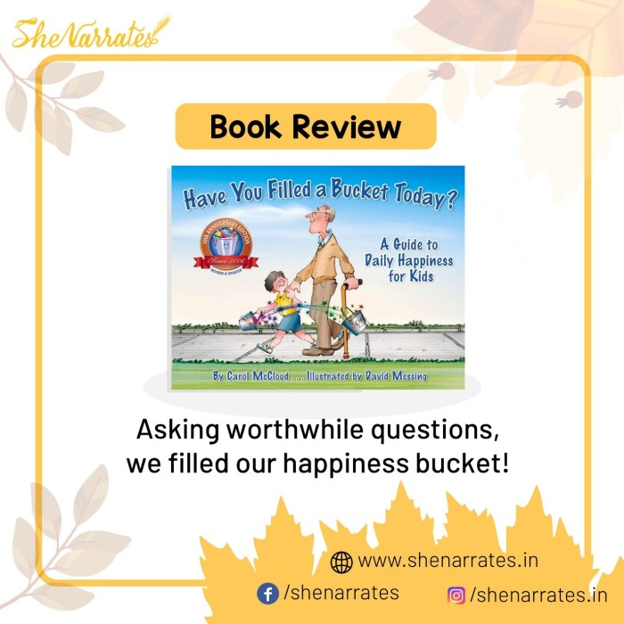 Book review of of the book 'Have you filled a Bucket Today? - A guide to Daily Happiness for Kids by Carol McCloud- the bucket day