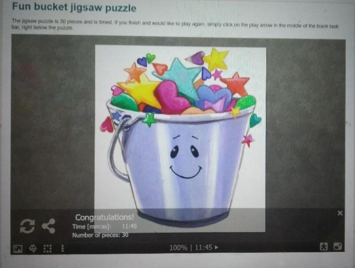 Fun bucket jigsaw puzzle score when Pratham and I played online from bucketfillers101.com