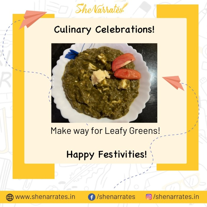 Festivity Delights with some leafy greens- Palak paneer. Happy Culinary Celebrations!