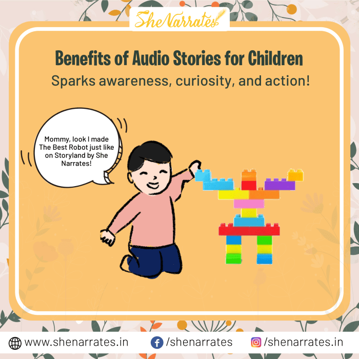 There are numerous Benefits of Audio Stories for Children, and one of them is Audio Stories helps in Sparking awareness, curiosity, and action.