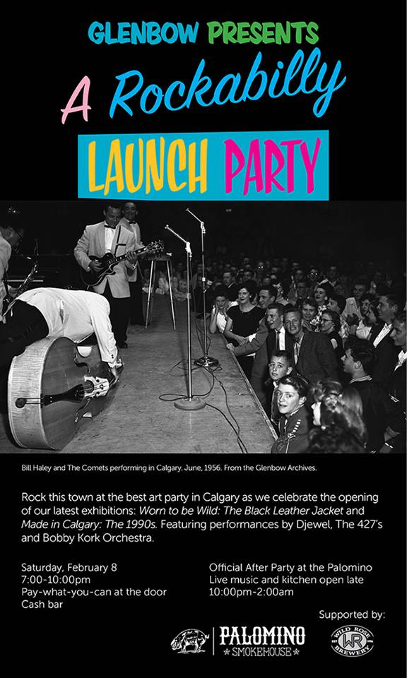Poster produced and published for the purpose of advertising the launch of Made in Calgary: the 1990s and Worn to be Wild