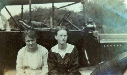 Flossie Macfarland (wife of Joe Haddow) and Marion Ada Moors Wood at Crystal Beach circa 1921.