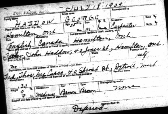 George Haddow trip to Detroit July 1909