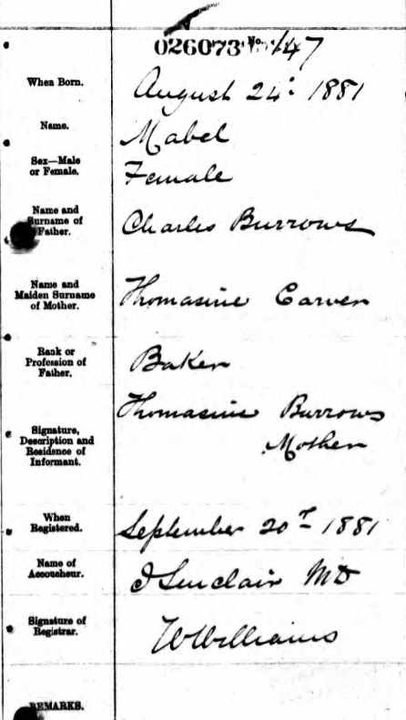 Mabel Burrows birth certificate