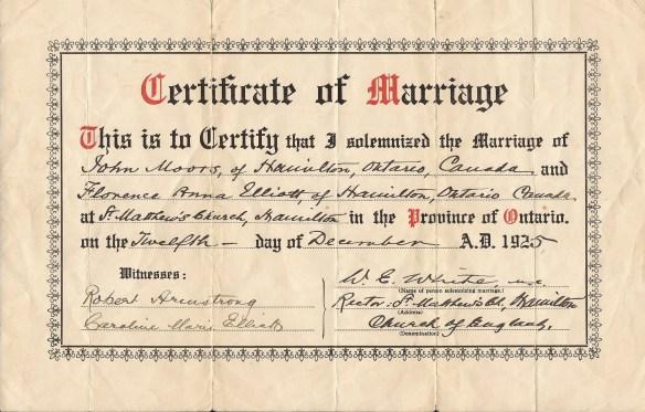 John Moors Florence Elliott Marriage Cert