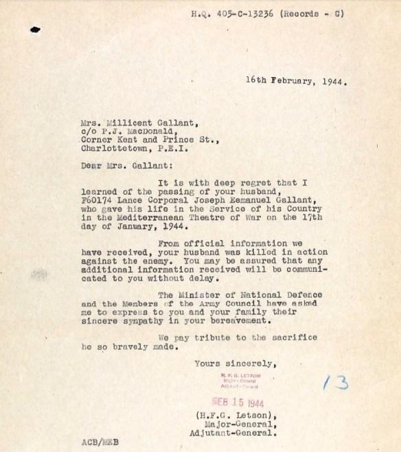 Joseph Emmanuel killed in action letter