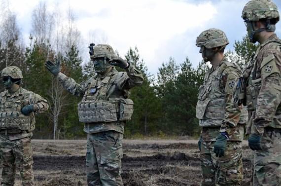 Soldier explaining