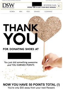 DSW Shoe Recycling VIP 50 Rewards Points