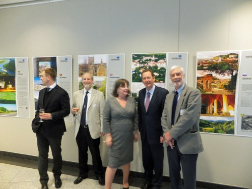 Douzelage exhibition in EU Parliament with Sir Graham Watson and Romanian MEP