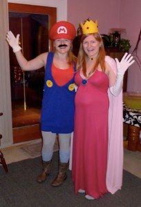 Lady Mario and Pregnant Princess Peach Costumes