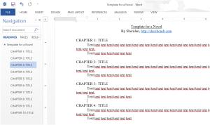 Novel template using headings in Word