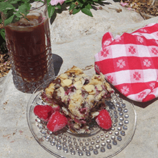 Raspberry Chocolate Chip Coffee Cake via Valerie Comer