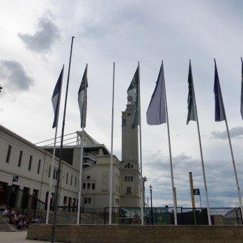 Flags outside the Olympic Stadium