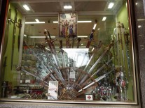Toleo is famous for its steel and traditional sword making - shop display