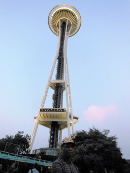 My husband at the foot of the Space Needle