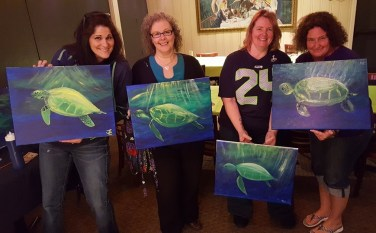 Our gang with finished turtle paintings