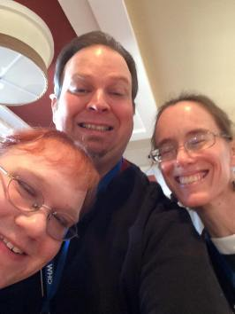 Here I am with my traveling companions Adrienne Tookey (left) and Sabrina Steyling (right).