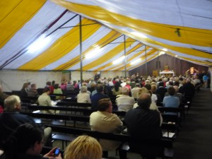 Marquee filling up for one of the Masses held there