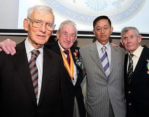 From left, US Ambassador Dan Rooney, Sean Taheny from Co Sligo, Korean Ambassador Kim Chang-Yoeb and Michael McCormick from Co Galway. Picture: Tom Burke