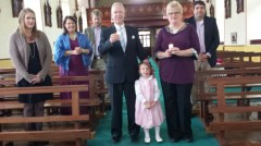 Pat, Kay White and their family in Kilmovee Church today
