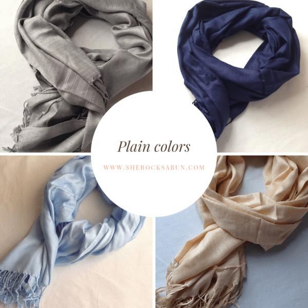 sherocksabun Thai Pashmina infinity scarf with zippered pocket, plain colors