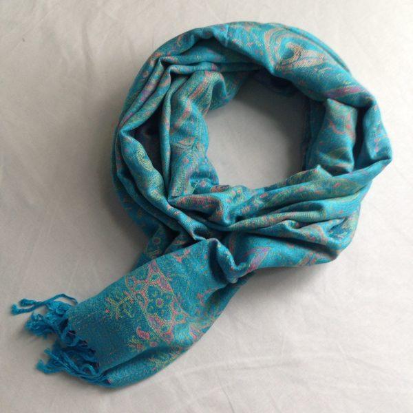 sherocksabun Thai Pashmina infinity scarf with zippered pocket, turquoise with peach details