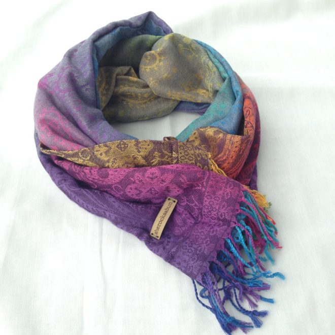 sherocksabun Thai Pashmina infinity scarf with zippered pocket, vibrant colors, colorful paisley