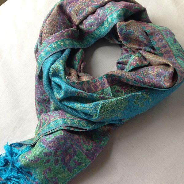 sherocksabun Thai Pashmina infinity scarf with zippered pocket, turquoise with purple paisley