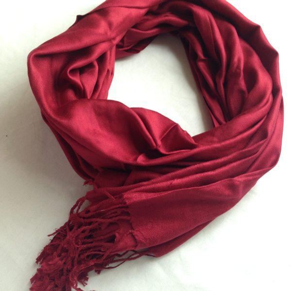 Wine red sherocksabun Thai Pashmina scarf with one zippered pocket
