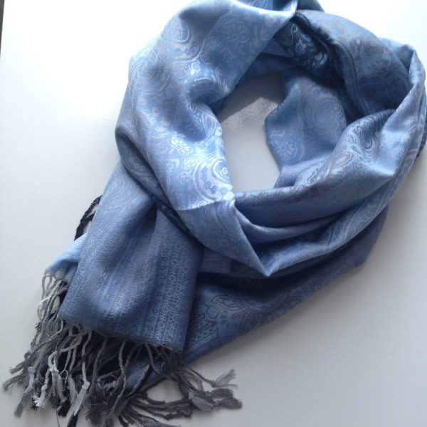 Black-grey-white florals jeans blue pocket scarf by sherocksabun