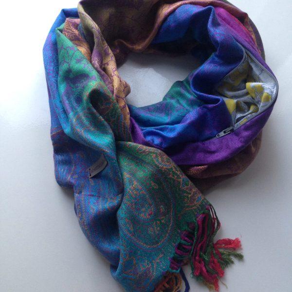 Color me happy purple pocket scarf by sherocksabun