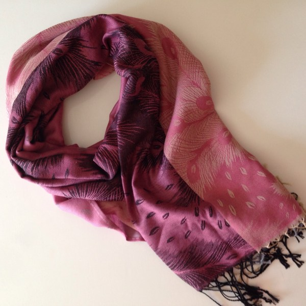 Peacock pink-rose pocket scarf by sherocksabun