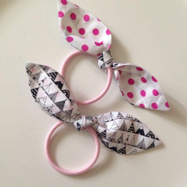 Hair tie black&white teepee with pink polkadots by sherocksabun