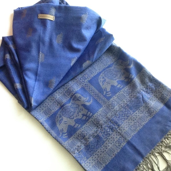 Blue grey elephant pocket scarf by sherocksabun