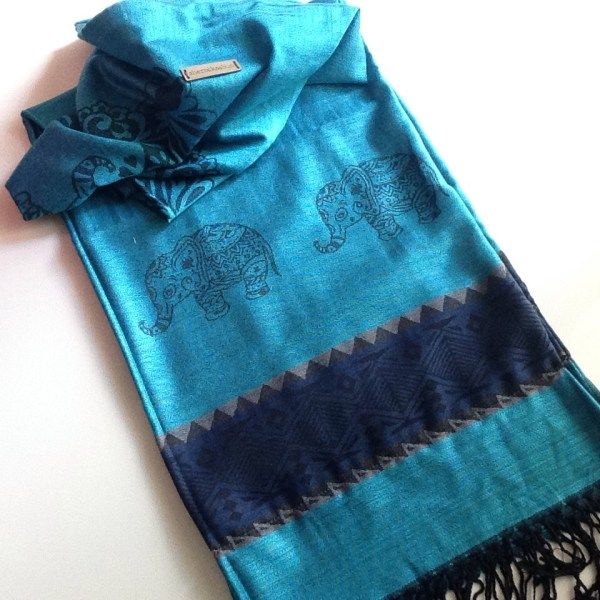 Teal dark blue elephant pocket scarf by sherocksabun