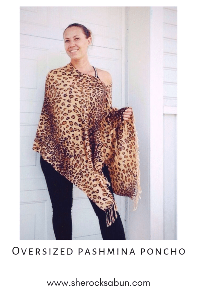 Thai Pashmina Oversized poncho in animal print by sherocksabun