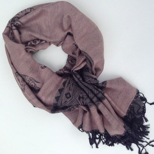 Elephant print, light old rose with grey details. Handcrafted pocket scarf by sherocksabun