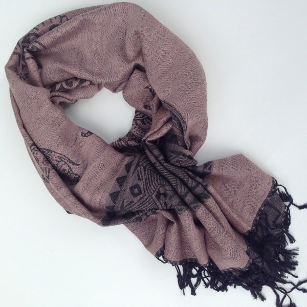 Elephant print, light old rose with grey details. Handcrafted pocket scarf by sherocksabun