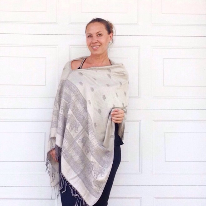 Oversized poncho in Thai Pashmina, grey elephant print by sherocksabun