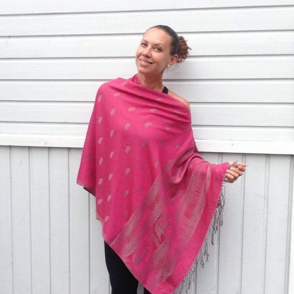 Aniline pink oversized poncho with grey elephant detail by sherocksabun