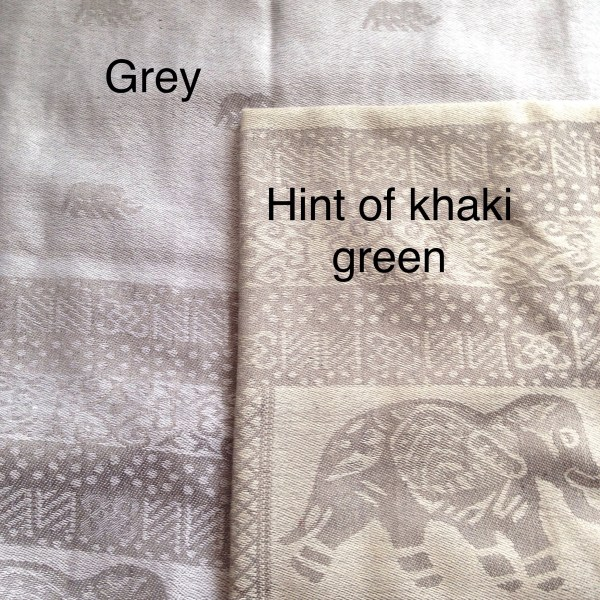 Grey and khaki green compared