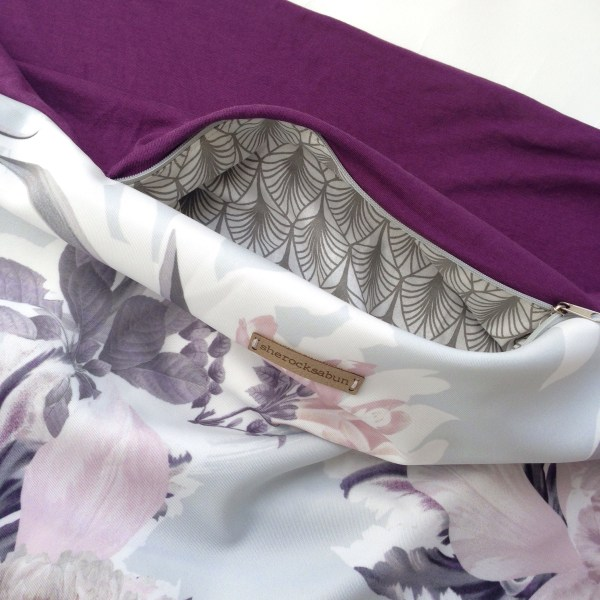 Soft grey florals - plum pocket scarf