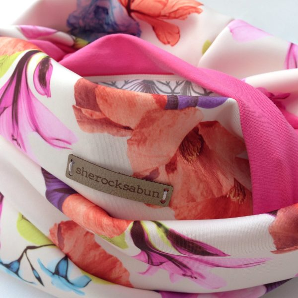 Cream florals - pink pocket scarf