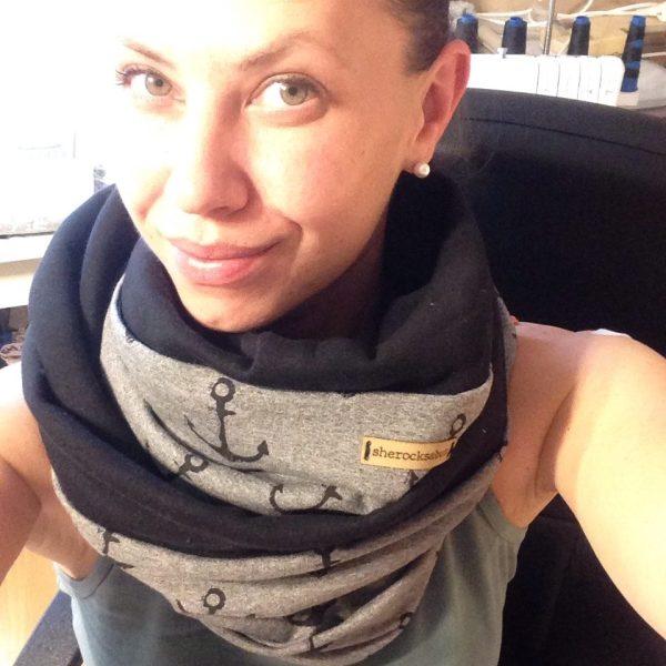 Anchors up! Dark grey/black cotton Pocket scarf by sherocksabun / taskullinen huivi / scarf med ficka