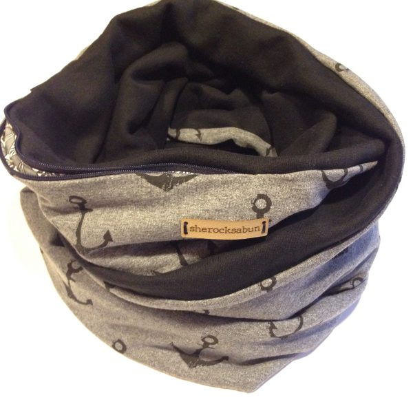 Anchors up! Dark grey/black cotton Pocket scarf by sherocksabun / taskullinen huivi / scarf med ficka
