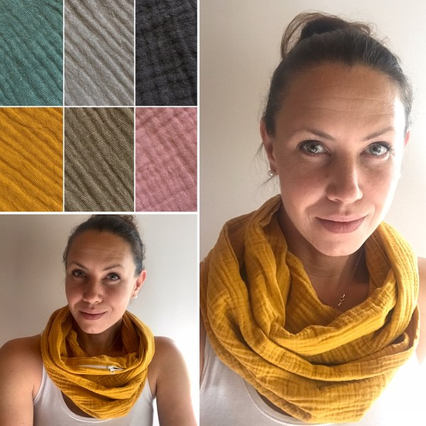 Hello spring cotton pocket scarf by sherocksabun