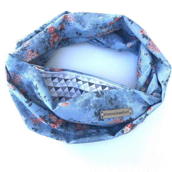 Blue florals pocket scarf by sherocksabun