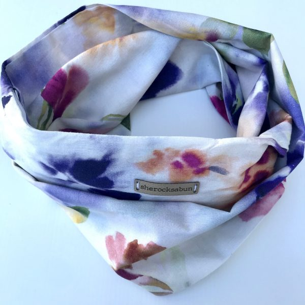 Watercolor florals pocket scarf by sherocksabun